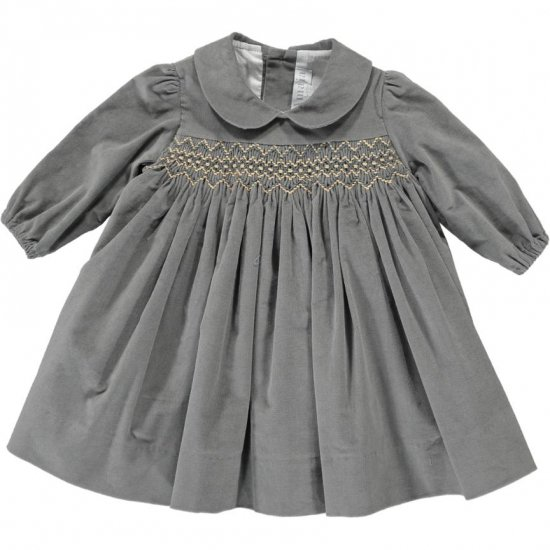 Amaia Kids - Melly dress - Grey アマイアキッズ - スモッキング刺繍ワンピース