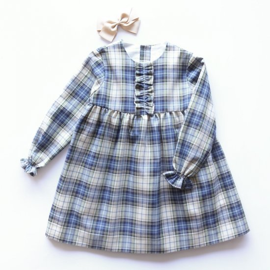 <img class='new_mark_img1' src='https://img.shop-pro.jp/img/new/icons20.gif' style='border:none;display:inline;margin:0px;padding:0px;width:auto;' />【30%OFF】Amaia Kids - Leila Dress - Blue/Beige Tartan アマイアキッズ - チェック柄ワンピース