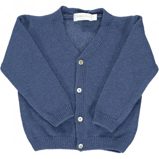 <img class='new_mark_img1' src='https://img.shop-pro.jp/img/new/icons14.gif' style='border:none;display:inline;margin:0px;padding:0px;width:auto;' />Amaia Kids - Sous marin cardigan - Blue アマイアキッズ - ウールカーディガン