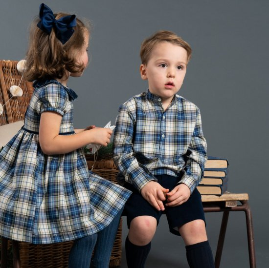 <img class='new_mark_img1' src='https://img.shop-pro.jp/img/new/icons14.gif' style='border:none;display:inline;margin:0px;padding:0px;width:auto;' />Amaia Kids - Pereprine shirt - Blue/Beige Tartan アマイアキッズ - チェック柄シャツ