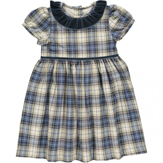 <img class='new_mark_img1' src='https://img.shop-pro.jp/img/new/icons14.gif' style='border:none;display:inline;margin:0px;padding:0px;width:auto;' />Amaia Kids - Raisin dress - Blue/Beige tartan アマイアキッズ - チェック柄ワンピース