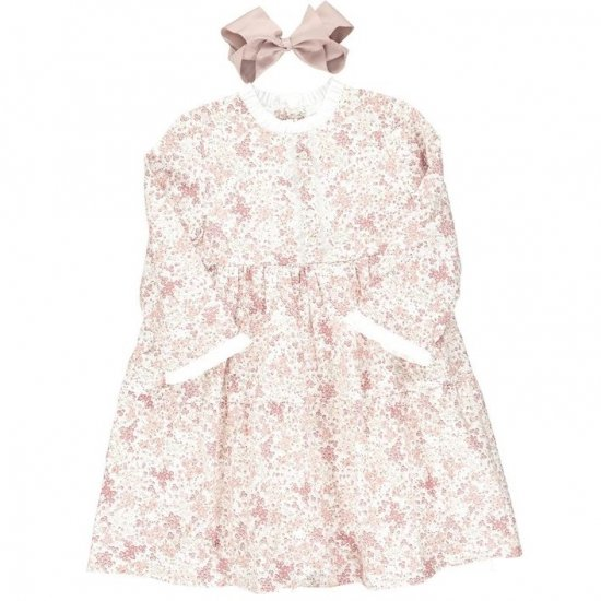 Amaia Kids - Ary dress - Pink floral アマイアキッズ - 花柄ワンピース