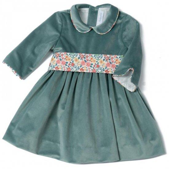 Amaia Kids - Sevilla velvet dress - Aqua アマイアキッズ - ベルベット素材ワンピース