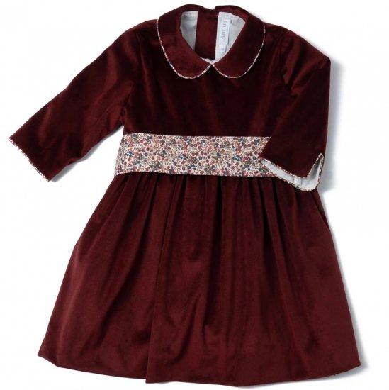 Amaia Kids - Sevilla velvet dress - Burgundy アマイアキッズ - ベルベット素材ワンピース