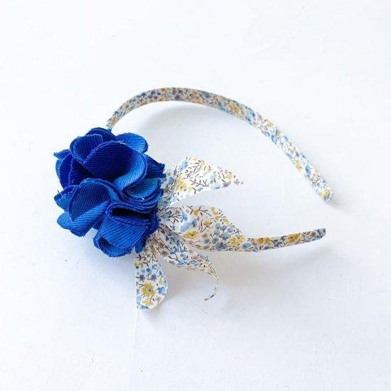 Amaia Kids - Hair Bands - Liberty and Pompom Blue アマイアキッズ - ポンポン付きリバティヘアバンド