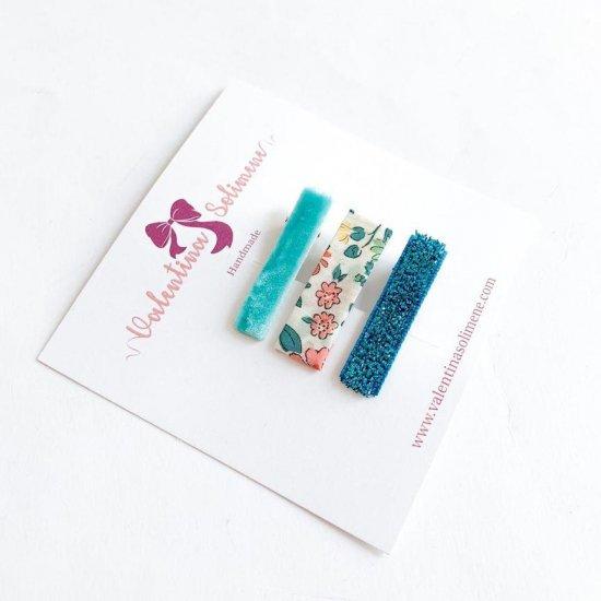 Amaia Kids - Hair clips - Liberty and matching Aqua アマイアキッズ - リバティヘアクリップ