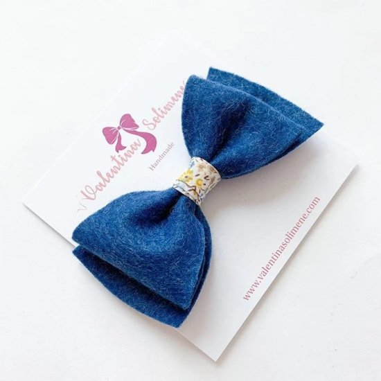 Amaia Kids - Hair Bow Liberty rubber bands - Blue アマイアキッズ - リバティヘアゴム