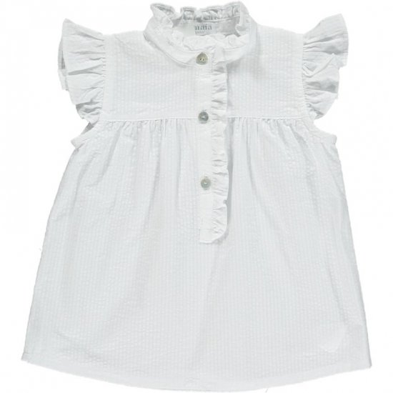 <img class='new_mark_img1' src='https://img.shop-pro.jp/img/new/icons14.gif' style='border:none;display:inline;margin:0px;padding:0px;width:auto;' />Amaia Kids - Diana blouse - White seersucker アマイアキッズ - ブラウス