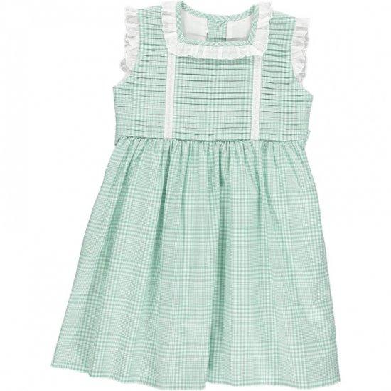 Amaia Kids - Ariana dress - Aqua アマイアキッズ - チェック柄ワンピース