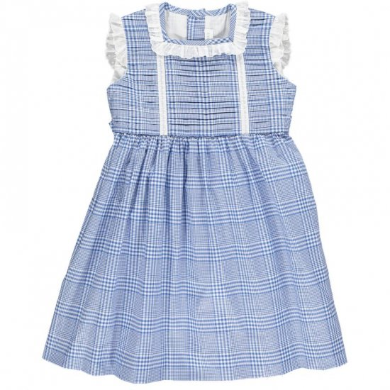 Amaia Kids - Ariana dress - Blue アマイアキッズ - チェック柄ワンピース