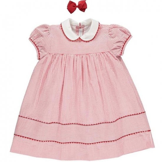 <img class='new_mark_img1' src='https://img.shop-pro.jp/img/new/icons14.gif' style='border:none;display:inline;margin:0px;padding:0px;width:auto;' />Amaia Kids - Zoe dress - Red striped seersucker アマイアキッズ - ワンピース