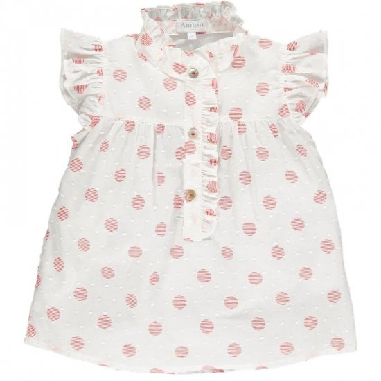 Amaia Kids - Diana blouse - Red polka dots アマイアキッズ - ブラウス