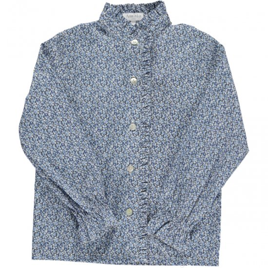 <img class='new_mark_img1' src='https://img.shop-pro.jp/img/new/icons14.gif' style='border:none;display:inline;margin:0px;padding:0px;width:auto;' />Amaia Kids - The Duchess Liberty pepper blue blouse - Daughter アマイアキッズ - リバティプリントプリンセスブラウス子供用