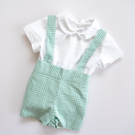 <img class='new_mark_img1' src='https://img.shop-pro.jp/img/new/icons14.gif' style='border:none;display:inline;margin:0px;padding:0px;width:auto;' />Amaia Kids - Spinach shorts - Aqua アマイアキッズ - チェック柄パンツ