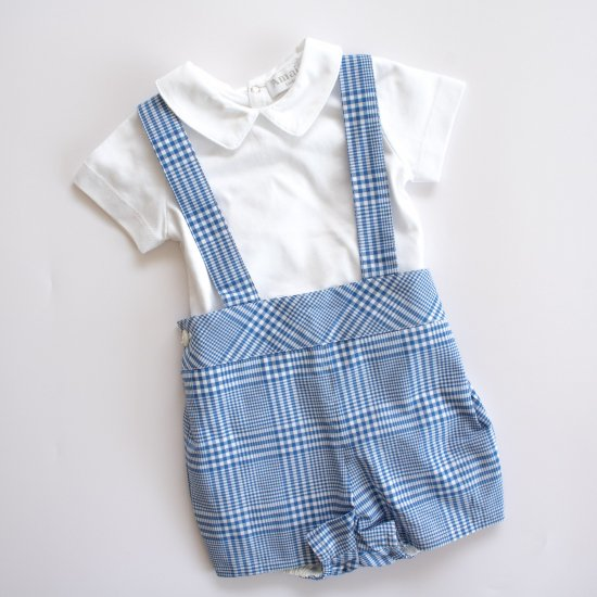 <img class='new_mark_img1' src='https://img.shop-pro.jp/img/new/icons14.gif' style='border:none;display:inline;margin:0px;padding:0px;width:auto;' />Amaia Kids - Spinach shorts - Blue アマイアキッズ - チェック柄パンツ