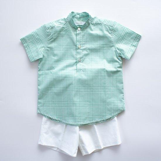 <img class='new_mark_img1' src='https://img.shop-pro.jp/img/new/icons14.gif' style='border:none;display:inline;margin:0px;padding:0px;width:auto;' />Amaia Kids - Pereprine shirt - Aqua アマイアキッズ - チェック柄半袖シャツ