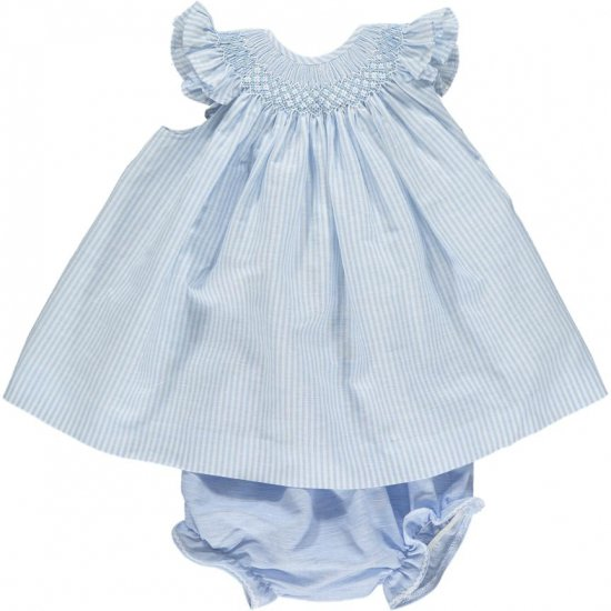 <img class='new_mark_img1' src='https://img.shop-pro.jp/img/new/icons20.gif' style='border:none;display:inline;margin:0px;padding:0px;width:auto;' />【10%OFF】Amaia Kids - Angel set - Light blue stripe アマイアキッズ - スモッキング刺繍入りセットアップ