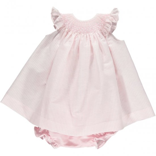 <img class='new_mark_img1' src='https://img.shop-pro.jp/img/new/icons14.gif' style='border:none;display:inline;margin:0px;padding:0px;width:auto;' />Amaia Kids - Angel set - Light pink stripe アマイアキッズ - スモック刺繍入りセットアップ