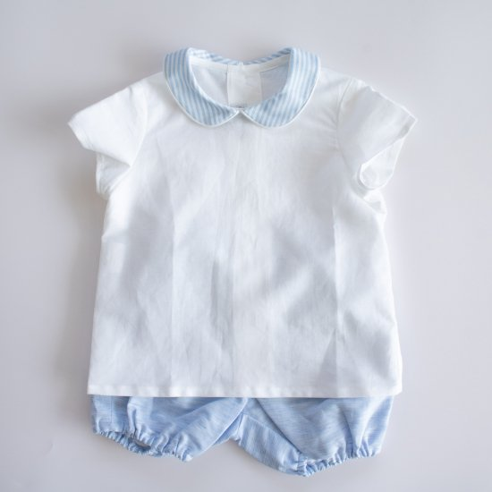 <img class='new_mark_img1' src='https://img.shop-pro.jp/img/new/icons14.gif' style='border:none;display:inline;margin:0px;padding:0px;width:auto;' />Amaia Kids - Mallard shirt - Light blue stripe アマイアキッズ - 半袖シャツ