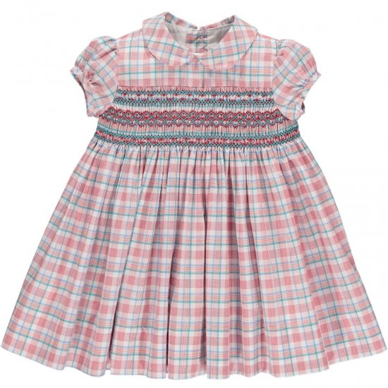 <img class='new_mark_img1' src='https://img.shop-pro.jp/img/new/icons14.gif' style='border:none;display:inline;margin:0px;padding:0px;width:auto;' />Amaia Kids - Shirley dress - Red/Aqua checked アマイアキッズ - チェック柄スモック刺繍ワンピース