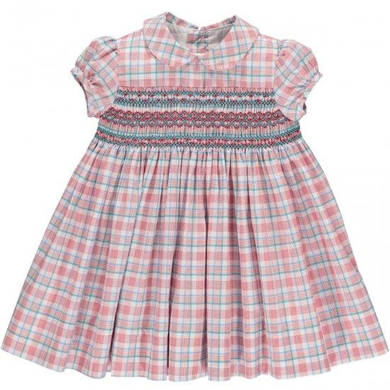 Amaia Kids - Shirley dress - Red/Aqua checked アマイアキッズ - チェック柄スモック刺繍ワンピース