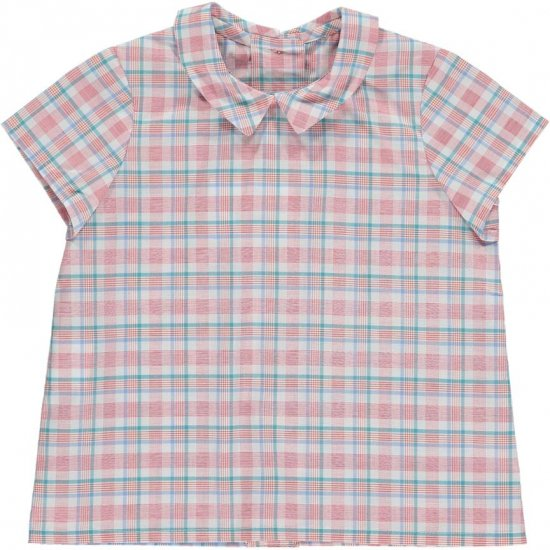 <img class='new_mark_img1' src='https://img.shop-pro.jp/img/new/icons14.gif' style='border:none;display:inline;margin:0px;padding:0px;width:auto;' />Amaia Kids - Mallard shirt - Red/Aqua checked アマイアキッズ - チェック柄半袖シャツ