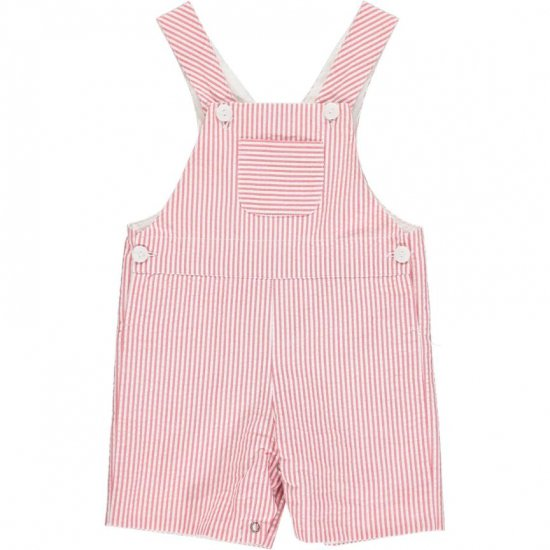 Amaia Kids - Toshie all in one - Red striped seersucker アマイアキッズ - サロペット