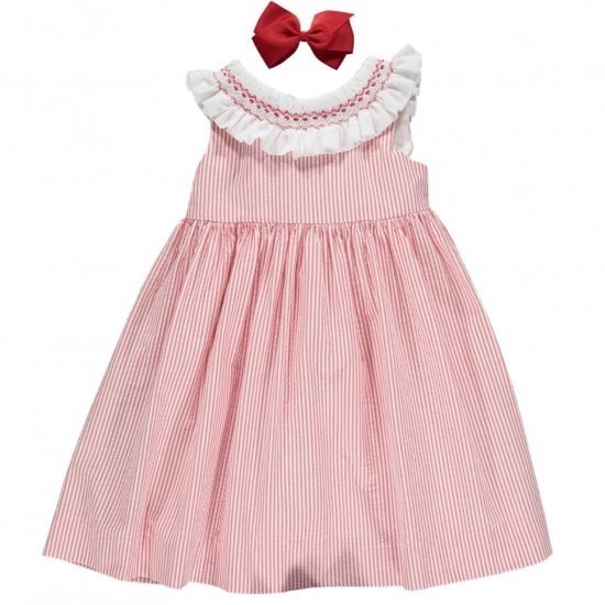 <img class='new_mark_img1' src='https://img.shop-pro.jp/img/new/icons14.gif' style='border:none;display:inline;margin:0px;padding:0px;width:auto;' />Amaia Kids - Poppy dress - Red striped seersucker アマイアキッズ - スモッキング刺繍ワンピース