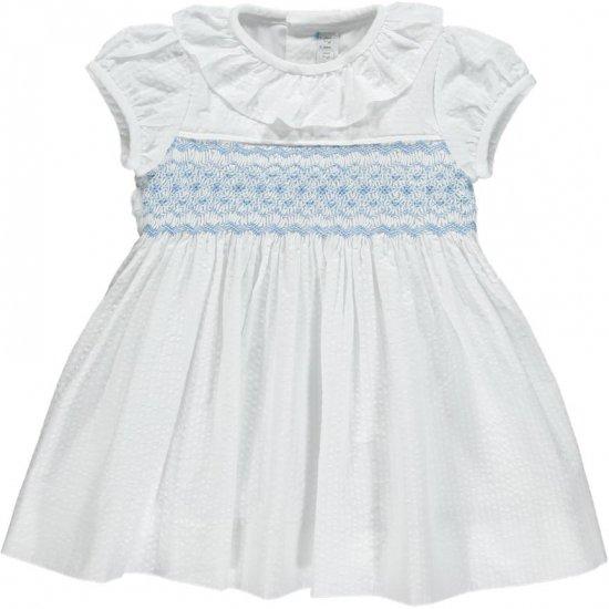 <img class='new_mark_img1' src='https://img.shop-pro.jp/img/new/icons14.gif' style='border:none;display:inline;margin:0px;padding:0px;width:auto;' />Amaia Kids - Moohren dress - White seersucker アマイアキッズ - スモッキング刺繍ワンピース