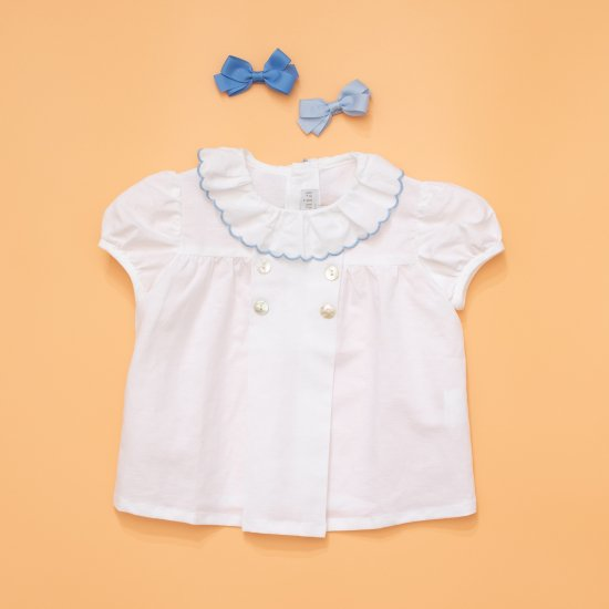<img class='new_mark_img1' src='https://img.shop-pro.jp/img/new/icons14.gif' style='border:none;display:inline;margin:0px;padding:0px;width:auto;' />Amaia Kids - Eden baby top - Light blue piping アマイアキッズ - ブラウス