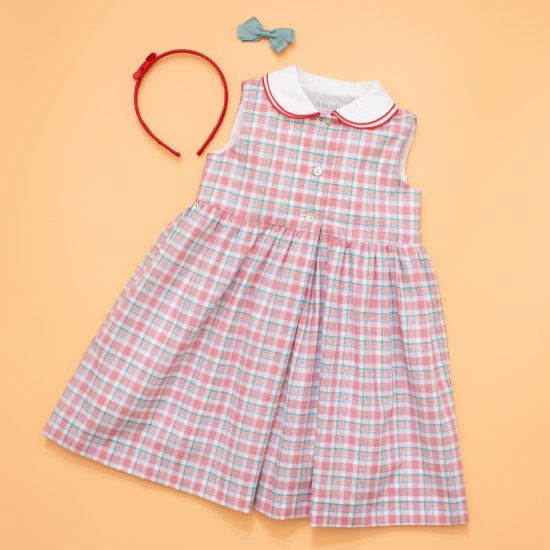 <img class='new_mark_img1' src='https://img.shop-pro.jp/img/new/icons14.gif' style='border:none;display:inline;margin:0px;padding:0px;width:auto;' />Amaia Kids - Caroline dress - Red/Aqua checked アマイアキッズ - チェック柄ワンピース