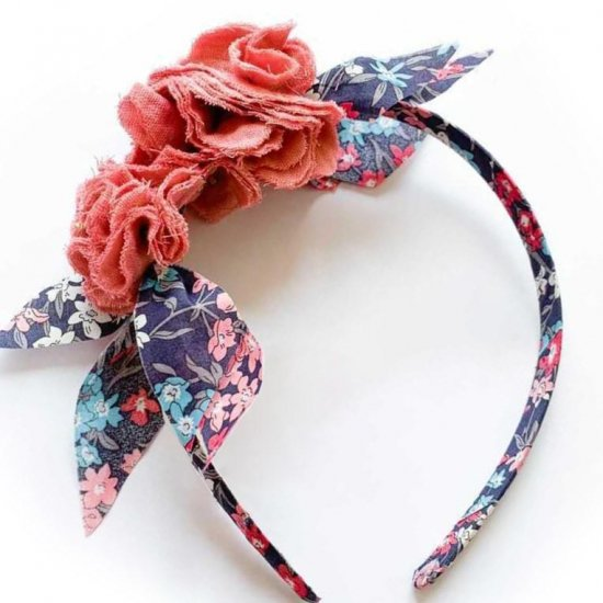 Amaia Kids - Hair Bands - Liberty and Pompom Charcoal/Pink アマイアキッズ - ポンポン付きリバティヘアバンド