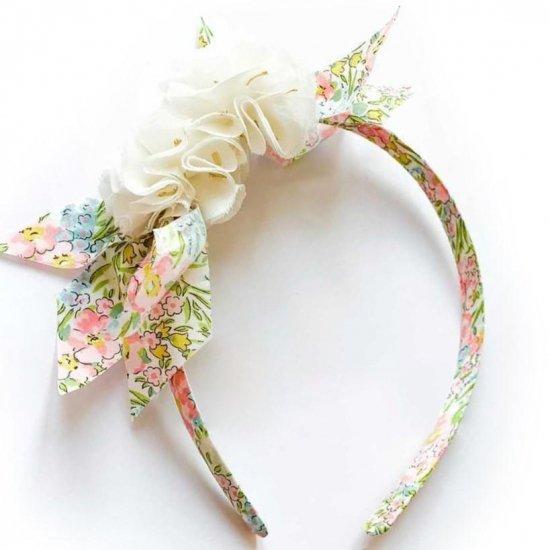 Amaia Kids - Hair Bands - Liberty and Pompom Floral/White アマイアキッズ - ポンポン付きリバティヘアバンド