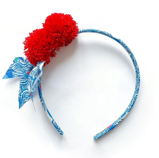 Amaia Kids - Hair Bands - Liberty and Pompom Blue/Red アマイアキッズ - ポンポン付きリバティヘアバンド