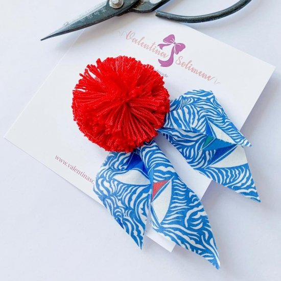 Amaia Kids - Hair rubber bands - Liberty and Pompom Blue/Red アマイアキッズ - ポンポン付きリバティヘアゴム