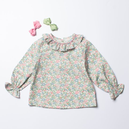 <img class='new_mark_img1' src='https://img.shop-pro.jp/img/new/icons14.gif' style='border:none;display:inline;margin:0px;padding:0px;width:auto;' />Amaia Kids - Amelia baby blouse - Liberty Pink/Green アマイアキッズ - リバティプリントブラウス