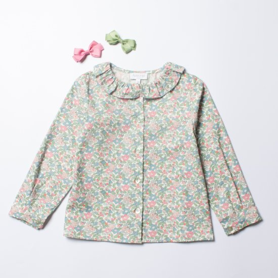 <img class='new_mark_img1' src='https://img.shop-pro.jp/img/new/icons14.gif' style='border:none;display:inline;margin:0px;padding:0px;width:auto;' />Amaia Kids - Amelia girl blouse - Liberty Pink/Green アマイアキッズ - リバティプリントブラウス