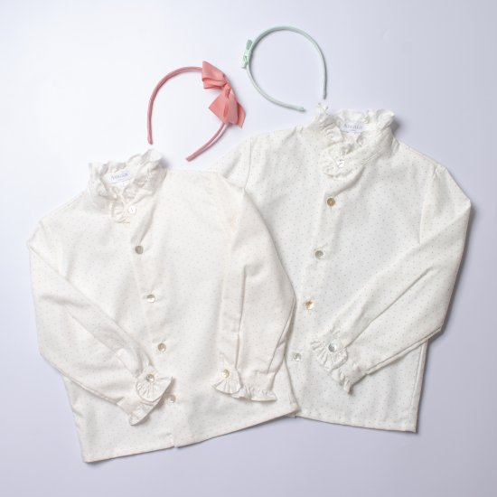 <img class='new_mark_img1' src='https://img.shop-pro.jp/img/new/icons14.gif' style='border:none;display:inline;margin:0px;padding:0px;width:auto;' />Amaia Kids - Grenade blouse - dots アマイアキッズ - 水玉ブラウス(Pink/Celadon)
