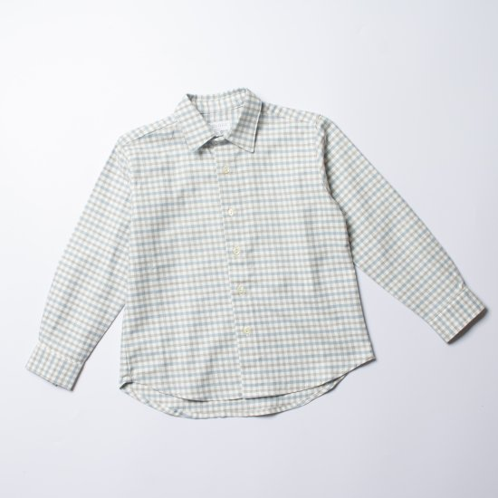 <img class='new_mark_img1' src='https://img.shop-pro.jp/img/new/icons14.gif' style='border:none;display:inline;margin:0px;padding:0px;width:auto;' />Amaia Kids - Chickadee shirt - Grey/Blue checked アマイアキッズ - チェック柄長袖シャツ