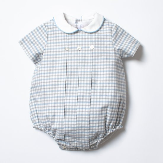 <img class='new_mark_img1' src='https://img.shop-pro.jp/img/new/icons14.gif' style='border:none;display:inline;margin:0px;padding:0px;width:auto;' />Amaia Kids - Felicidad romper Grey/Blue checked アマイアキッズ - チェック柄ロンパース