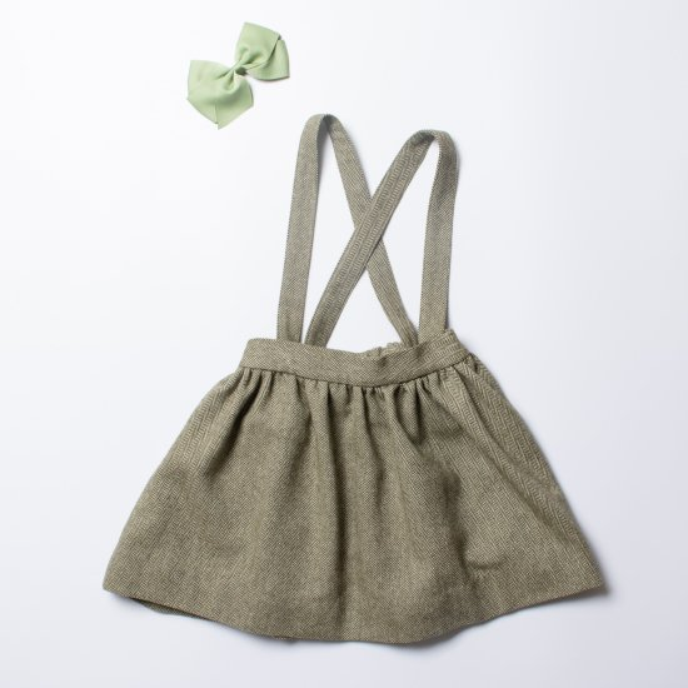 <img class='new_mark_img1' src='https://img.shop-pro.jp/img/new/icons14.gif' style='border:none;display:inline;margin:0px;padding:0px;width:auto;' />Amaia Kids - Valeria skirt - Khaki herringbone - アマイアキッズ - スカート