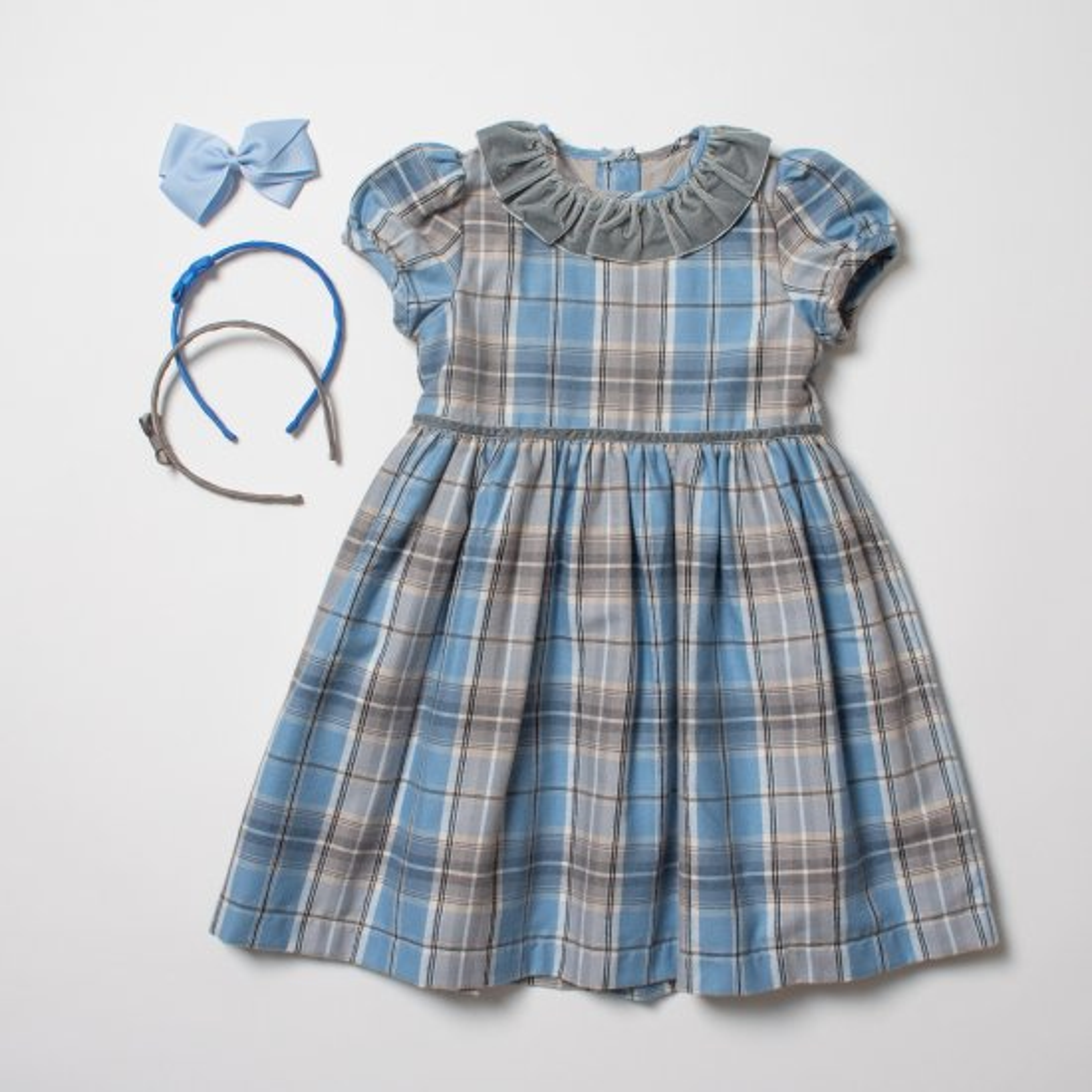 <img class='new_mark_img1' src='https://img.shop-pro.jp/img/new/icons14.gif' style='border:none;display:inline;margin:0px;padding:0px;width:auto;' />Amaia Kids - Raisin dress - Blue tartan アマイアキッズ - チェック柄ワンピース