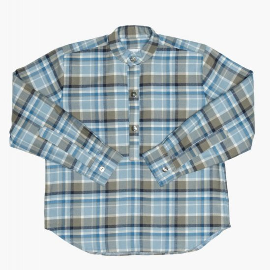 <img class='new_mark_img1' src='https://img.shop-pro.jp/img/new/icons14.gif' style='border:none;display:inline;margin:0px;padding:0px;width:auto;' />Amaia Kids - Pereprine shirt - Blue tartan アマイアキッズ - チェック柄長袖シャツ