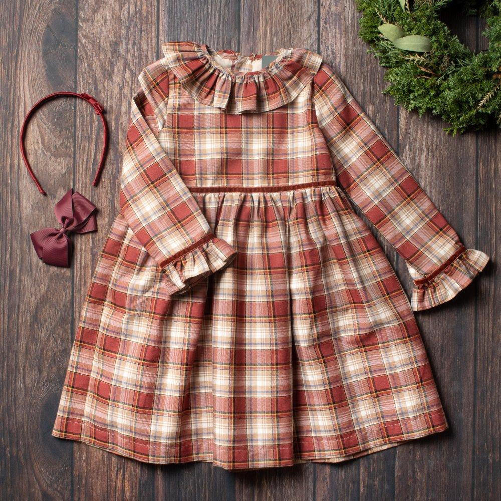 <img class='new_mark_img1' src='https://img.shop-pro.jp/img/new/icons14.gif' style='border:none;display:inline;margin:0px;padding:0px;width:auto;' />Amaia Kids - Myriam dress - Rust tartan - アマイアキッズ - チェック柄長袖ワンピース
