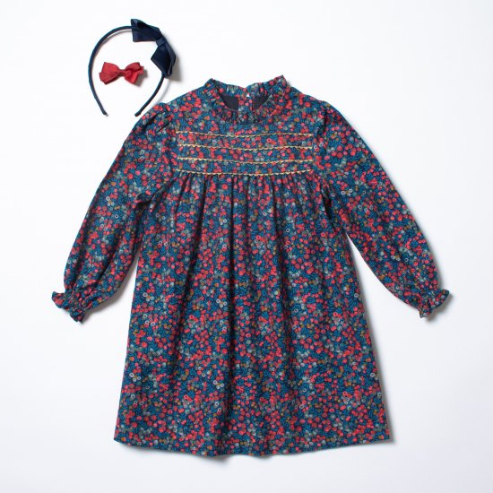 <img class='new_mark_img1' src='https://img.shop-pro.jp/img/new/icons14.gif' style='border:none;display:inline;margin:0px;padding:0px;width:auto;' />Amaia Kids - Villa dress - Liberty Navy/Red アマイアキッズ - リバティプリントワンピース