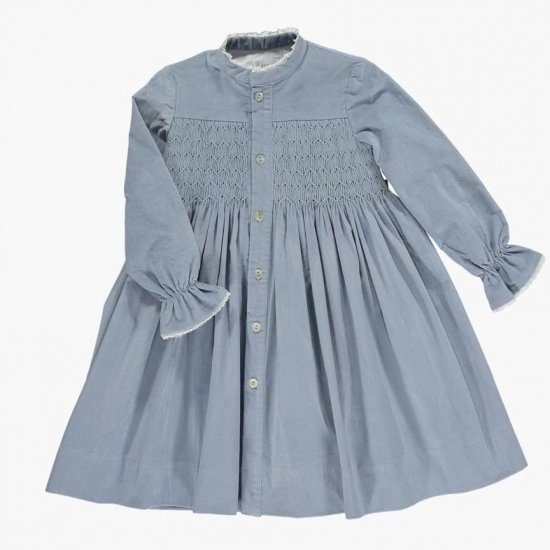 <img class='new_mark_img1' src='https://img.shop-pro.jp/img/new/icons14.gif' style='border:none;display:inline;margin:0px;padding:0px;width:auto;' />Amaia Kids - Ines dress - Dusty blue アマイアキッズ - スモック刺繍ワンピース