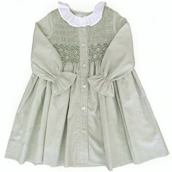 <img class='new_mark_img1' src='https://img.shop-pro.jp/img/new/icons14.gif' style='border:none;display:inline;margin:0px;padding:0px;width:auto;' />Amaia Kids - Aria dress - Olive アマイアキッズ - スモッキング刺繍ワンピース