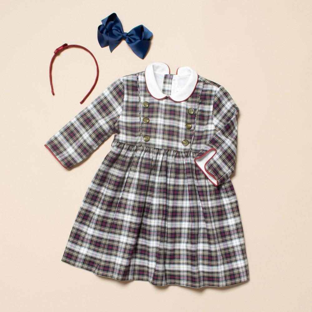 <img class='new_mark_img1' src='https://img.shop-pro.jp/img/new/icons14.gif' style='border:none;display:inline;margin:0px;padding:0px;width:auto;' />Amaia Kids - Tambor dress - Navy/Khaki tartan アマイアキッズ - チェック柄ワンピース