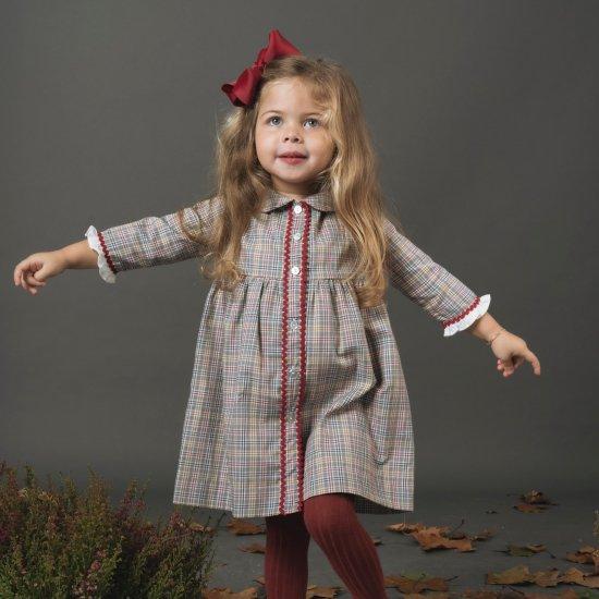 <img class='new_mark_img1' src='https://img.shop-pro.jp/img/new/icons14.gif' style='border:none;display:inline;margin:0px;padding:0px;width:auto;' />Amaia Kids - Emma dress - Grey tartan アマイアキッズ - チェック柄長袖ワンピース
