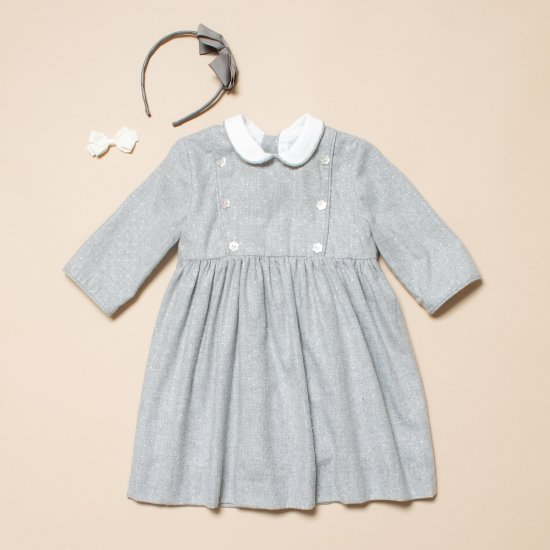 <img class='new_mark_img1' src='https://img.shop-pro.jp/img/new/icons14.gif' style='border:none;display:inline;margin:0px;padding:0px;width:auto;' />Amaia Kids - Tambor dress - Silver dots アマイアキッズ - 水玉ワンピース